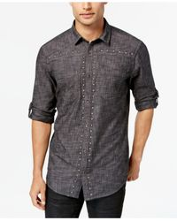 INC International Concepts - Black Men's Studded Chambray Shirt for Men - Lyst