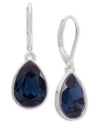 Nine West - Silver-tone Blue Stone Drop Earrings - Lyst