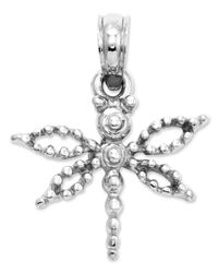 Macy's | 14k White Gold Charm, Mini Dragonfly Charm | Lyst