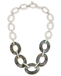 Robert Lee Morris | Metallic Silver-tone & Abalone Large Link Necklace | Lyst