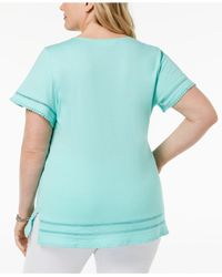 Karen Scott Blue Plus Size Ladder-inset T-shirt, Created For Macy's