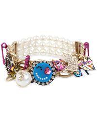 Betsey Johnson - Multi-tone Multicolor Crystal & Imitation Pearl Large Charm Stretch Bracelet - Lyst