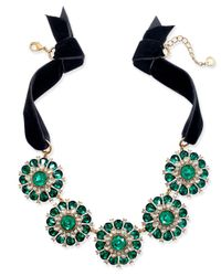Charter Club - Metallic Gold-tone Green & Clear Crystal Black Velvet Statement Necklace - Lyst