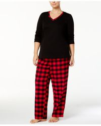 Charter Club - Black Plus Size Trimmed Knit Top And Printed Pants Pajama Set - Lyst