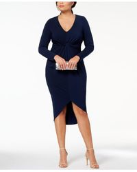 Soprano - Blue Trendy Plus Size Twist-front Bodycon Dress - Lyst
