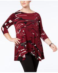 Alfani | Red Plus Size Asymmetrical-hem Tunic | Lyst