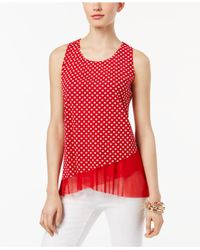 INC International Concepts | Red Petite Printed Asymmetrical Top | Lyst