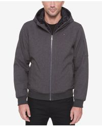 Tommy Hilfiger - Gray Soft-shell Bomber Hoodie Jacket for Men - Lyst