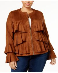 INC International Concepts - Brown Plus Size Ruffled Faux-suede Jacket - Lyst