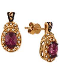 Le Vian - Red Raspberry Rhodolite® (1-3/4 Ct. T.w.) & Diamond (1/5 Ct. T.w.) Drop Earrings In 14k Rose Gold - Lyst
