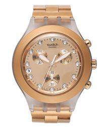 Swatch - Metallic Unisex Swiss Chronograph Full-blooded Caramel Rose Gold-tone Bracelet Watch 43mm Svck4047ag - Lyst