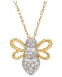 Macy's - Metallic Diamond Bug Pendant Necklace (1/10 Ct. T.w.) In 10k Gold - Lyst