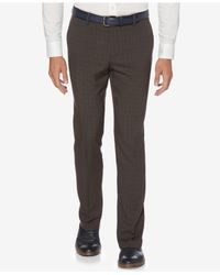 Perry Ellis - Gray Men's Slim-fit Mechanical Stretch Tonal Plaid Pants for Men - Lyst