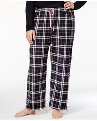 Hue - Black ® Plus Size Snuggly Fleece Plaid Pajama Pants - Lyst