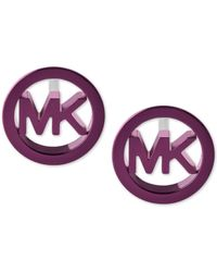 Michael Kors | Purple-tone Stainless Steel Logo Stud Earrings | Lyst
