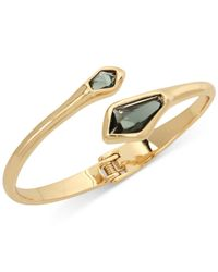 Robert Lee Morris - Gold-tone Green Stone Hinged Bangle Bracelet - Lyst