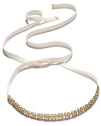 Kate Spade - Metallic Gold-tone Crystal Cluster Ribbon Choker Necklace - Lyst