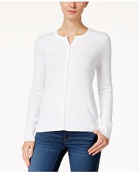 Charter Club | White Long-sleeve Button-front Cardigan | Lyst