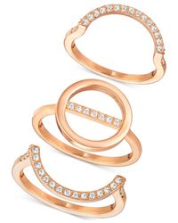 Swarovski - Metallic Rose Gold-tone 3-pc. Set Interlocking Crystal Pavé Rings - Lyst