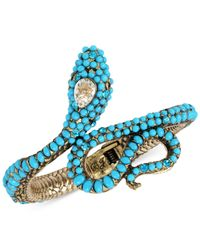 Betsey Johnson - Blue Gold-tone Stone & Crystal Snake Hinged Cuff Bracelet - Lyst