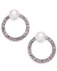 INC International Concepts - Metallic Rose Gold-tone Pavé & Imitation Pearl Front-back Earrings, Created For Macy's - Lyst