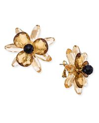Kate Spade - Metallic Gold-tone Blooming Brilliant Statement Stud Earrings - Lyst