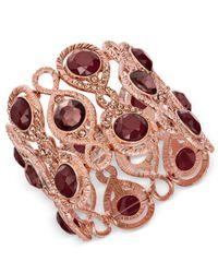 INC International Concepts - Purple Rose Gold-tone Stone & Pavé Filigree Stretch Bracelet - Lyst
