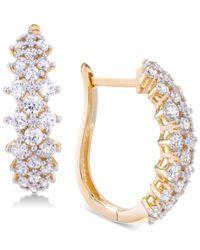 Wrapped in Love - Metallic Diamond Hoop Earrings (2 Ct. T.w.) In 14k Gold - Lyst
