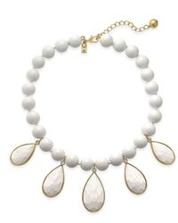 Kate Spade | Metallic Gold-tone Cubic Zirconia & Colored Stone Beaded Necklace | Lyst