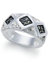 Macy's | Metallic Marcasite & Crystal Geometric Ring In Silver-plate | Lyst