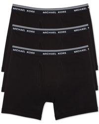 Michael Kors - Black Men's Essentials Cotton Boxer Briefs, 3-pack for Men - Lyst