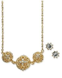 Charter Club - Metallic Gold-tone 2 Pc. Set Crystal Filigree Pendant Necklace And Crystal Stud Earrings, Created For Macy's - Lyst