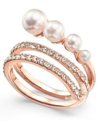 INC International Concepts - Metallic Rose Gold-tone Pavé & Imitation Pearl Wrap Ring, Created For Macy's - Lyst