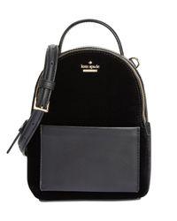 Kate Spade | Black Watson Lane Velvet Merry Mini Crossbody Backpack | Lyst