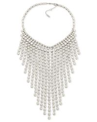 Carolee - Metallic Silver-tone Crystal Statement Necklace - Lyst