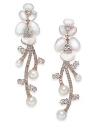 Kate Spade - Multicolor Rose Gold-tone Imitation Pearl Crystal Drop Earrings - Lyst