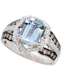 Le Vian - Blue Aquamarine (1-3/4 Ct. T.w.) And Diamond (5/8 Ct. T.w.) Emerald Ring In 14k White Gold - Lyst