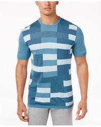 Alfani | Blue Men's Colorblocked Short-sleeve Sweater for Men | Lyst