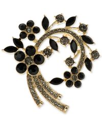 Anne Klein - Black Stone And Pave Arched Floral Pin, Only At Macy's - Lyst