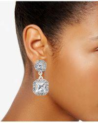 Charter Club - Metallic Silver-tone Cushion-cut Crystal Earrings - Lyst