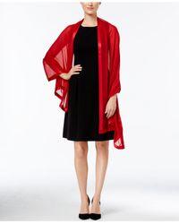 Calvin Klein - Red Satin-trim Chiffon Evening Wrap - Lyst