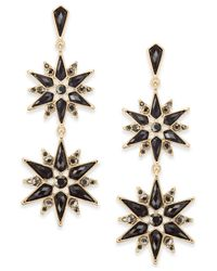 INC International Concepts - Metallic Gold-tone Stone & Crystal Starburst Double Drop Earrings - Lyst