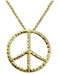 Giani Bernini - Metallic Textured Peace Sign Pendant Necklace In 18k Gold-plated Sterling Silver - Lyst