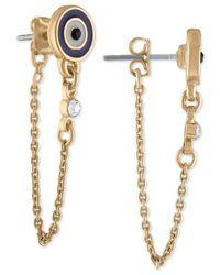 RACHEL Rachel Roy - Blue Gold-tone Crystal Stud & Chain Front-and-back Earrings - Lyst