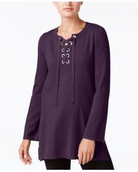 Style & Co. - Multicolor Lace-up Tunic Sweater - Lyst