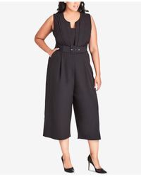 5a343b7e29 Lyst - City Chic Trendy Plus Size Veronica Belted Jumpsuit in Black