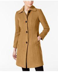 Anne Klein - Natural Club-collar Wool-blend Walker Coat - Lyst