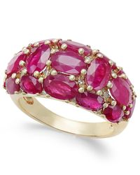 Macy's - Metallic Certified Ruby (6 Ct. T.w.) And Diamond (1/8 Ct. T.w.) Dome Ring In 14k Gold - Lyst