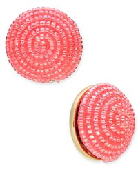Kate Spade - Pink Gold-tone Beaded Button Stud Earrings - Lyst