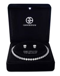 Giani Bernini - Metallic Cubic Zirconia Tennis Bracelet And Stud Earrings Set In Sterling Silver - Lyst